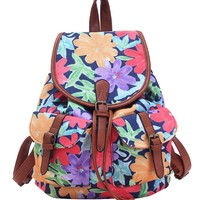 Yesiyan Women's Large Canvas Flower Daypack Backpack Travel Bag