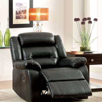 Jeffray Contemporary Bonded Leather Recliner Chair, Black