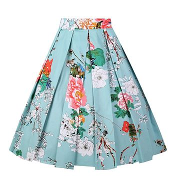 Girstunm Women's Pleated Vintage Skirt Floral Print A-line Midi Skirts with Pockets 1