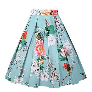 Girstunm Women's Pleated Vintage Skirt Floral Print A-line Midi Skirts with Pockets 1 2 3