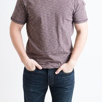 MEN'S: Maroon V-Neck Short Sleeve Pocket Tee