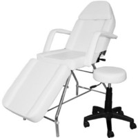 White Facial Massage Esthetician Bed with Stool