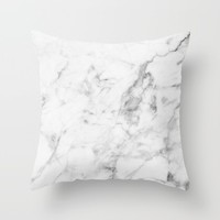 White Marble Throw Pillow by New Wave Studio