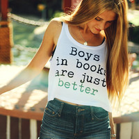 Boys in books crop top