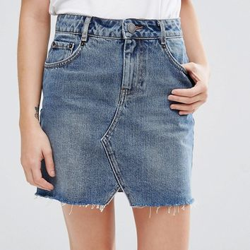 ASOS PETITE Denim Pelmet Skirt in Midwash Blue at asos.com