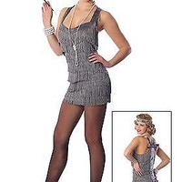 Sexy Adult Silver Lindy Lace Flapper Costume