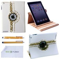 ECO-FUSED Bling 360 Rotating iPad 3 White Leather Case with (Leopard) Sparkling Rhinstone Details / One Gold Stylus / One Gold Stylus - Microfiber Cleaning Cloth 5.5x3.0-Inch included - Leopard Rhinestone