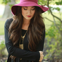 Wine Wool Floppy Hat