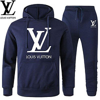 Louis Vuitton LV Classic hot sale printed letter logo hooded sweatshirt trousers two-piece suit