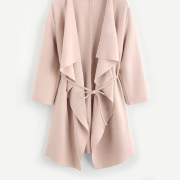 Knee Length Waterfall Collar Wrap Trench Coat  With Belts