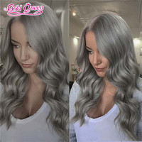 grade 10a grey hair lace front wig human hair 100% malaysian body wave silver grey hair wigs for fashion women and girl gray wig