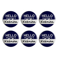 Keenan Hello My Name Is Plastic Resin Button Set of 6