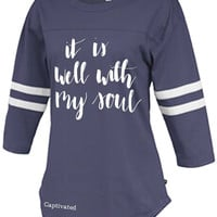 Sassy Frass Captivated Well With My Soul Rally Jersey Long Sleeve Bright Girlie T Shirt