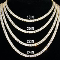 "Men's New Clear Baguette  Custom 18-24"" Tennis Necklace"