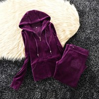 Juicy Couture Studded Simple Logo Crown Velour Tracksuit 31058 2pcs Women Suits Purple