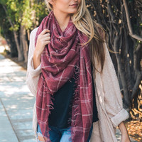 Washed Red Lightweight Plaid Scarf