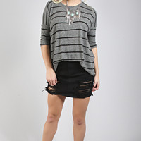 afternoon with you stripe sweater - charcoal
