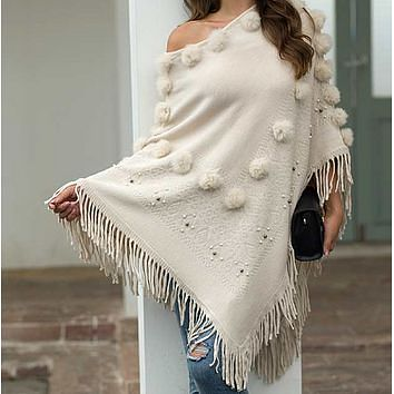 The new popular fringe cape fur ball beaded shawl knitted sweater