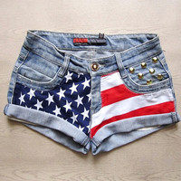 Make To Order - Vintage High Waist  American Flag Gold Circle Studded Cut Off Shorts