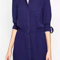 Blue Long-Sleeve Button A-Line Collared Dress
