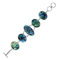 AB-1050-AB Sterling Silver Bracelet With Abalone Shell