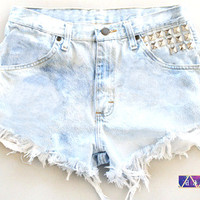 ANY Size ANY Colorway x High-Waisted Studded Frayed Denim Shorts