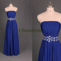 unique long chiffon prom dresses with sequins and rhinestone cheap elegant evening gowns hot modern strapless dress for wedding party