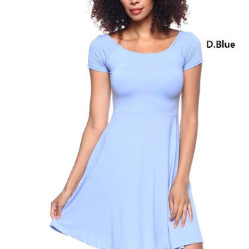 * Boat neck Dress In D Blue