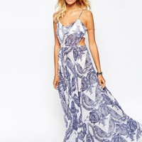 ASOS China Print Pleated Maxi Beach Dress