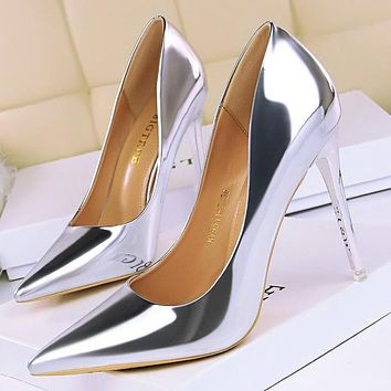Fashion metal heels women's shoes high-heeled shallow mouth pointed sexy nightclub was thin shoes silver