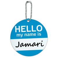 Jamari Hello My Name Is Round ID Card Luggage Tag