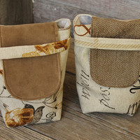 Small Reusable Gift Bags Party Favors Cream Gold Tan Black Autumn Upholstery Fabric Floral Plaid Script (set of 2) --US Shipping Included