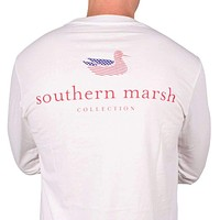 Long Sleeve Authentic Flag Tee in White by Southern Marsh