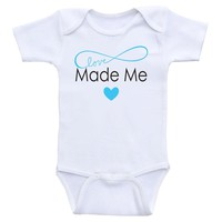 """Cute Baby One Piece """"Made With Love"""" Cute Gender Neutral Baby Onesuit Bodysuits"""