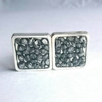 Funky Silver Pebble Stones Resin Cufflinks Silver Pebble Cufflinks