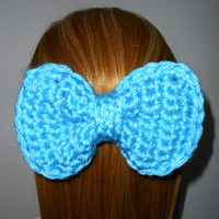 Crochet Bow Barrette Bright Blue Big Bow for Hair Gift Under 15