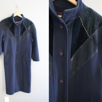 Hand-made Royal Navy Blue Wool Coat Long Parka Leather Trimmed Cocoon Minimalist Winter Coat Vintage 90s Size S - M