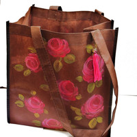 Boho Flower Tote Bag Painted Roses Romantic Bohemian Accessories FREE SHIPPING