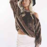Live Simply Mocha Shaggy Fur Open Shoulder Sweatshirt