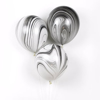 """Marble Balloons - Black and White - 11"""" inch - 3 pack - Black White Gold and Silver - Latex Balloon - New Years Eve / 40th or 30th Birthday"""