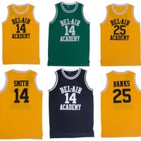 Retro Basketball Jersey Will Smith Fresh Prince Jersey Shirts Yellow Black Letters and Maroon Letters Hip Hop Basketball Jersey