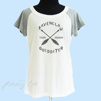 Ravenclaw quidditch team seeker shirt thin soft tee**off white grey**wide neck sweatshirt, crew neck tshirt size S M L **quote tshirt