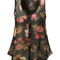 LE3NO Womens Loose Sheer Chiffon Floral Print Tank Top (CLEARANCE)