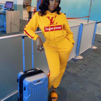 LV x Supreme Popular Women Leisure Round Collar Logo Print Pullover Sweater Pants Trousers Set Two-Piece