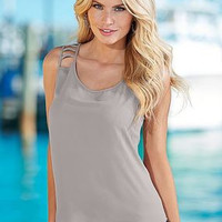 SIMPLE - Women Summer Sexy Loose Round Necked Sleeveless Solid Handkerchief Top T-Shirt a10970