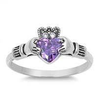 Sterling Silver Purple Simulated Amethyst Cz HEART Royal Celtic Claddagh Crown Ring 4-12
