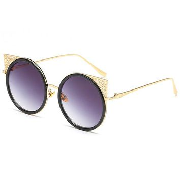 Carved Metal Frame Hollow Out Round Sunglasses