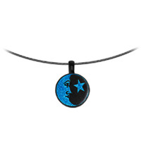 Handcrafted Blue Dichroic Star and Moon Choker Necklace   Body Candy Body Jewelry