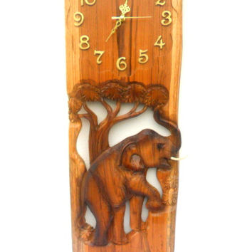 """Natural Teak Wood Carving Elephant With Clock Home Decor Wall Hanging Art  wooden Carved Elephant / Gift 24"""" X 10"""""""