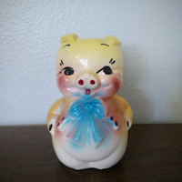 Vintage American Bisque piggy bank, Made is the USA, pig bank, pig decor, midcentury